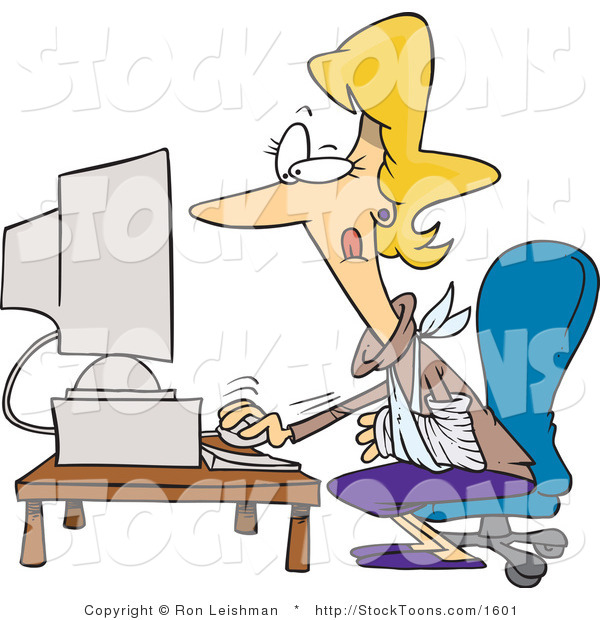 Stock Cartoon of a Injured Blond Woman Using a Desktop