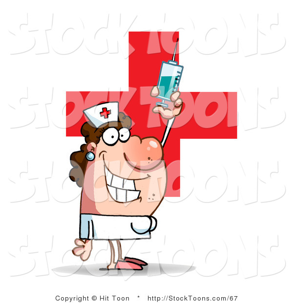 Stock Cartoon of a Lady Nurse in a White Uniform