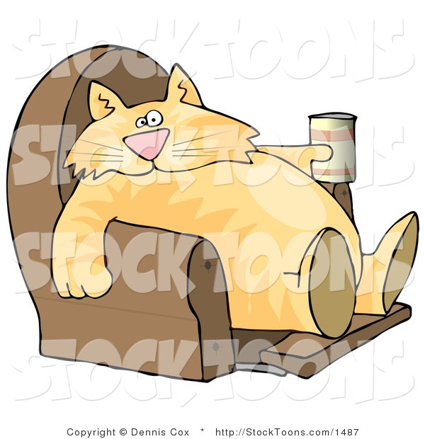 Stock Cartoon of a Lazy Cat with a Beer in a Recliner