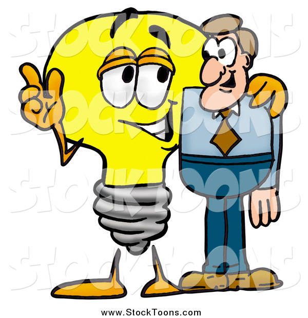 Stock Cartoon of a Light Bulb Character Talking to a Business Man