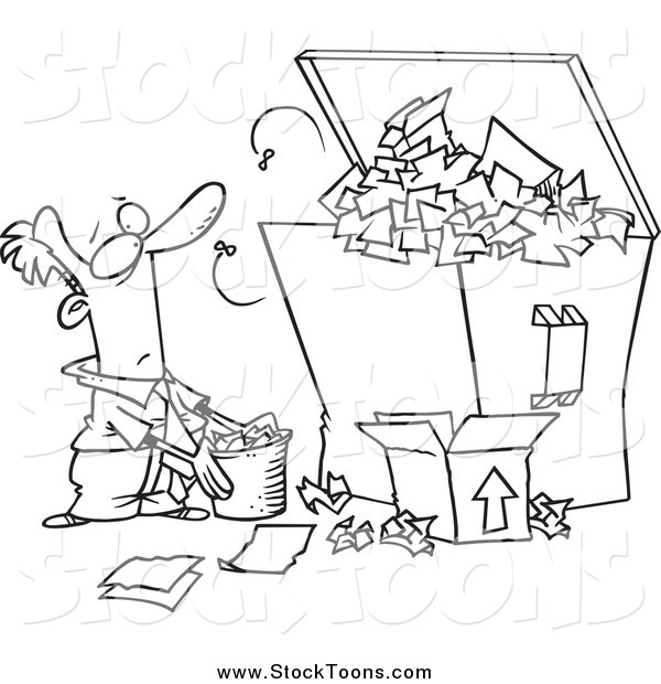 Stock Cartoon of a Lineart Businessman Tossing More Waste into a Full Dumpster