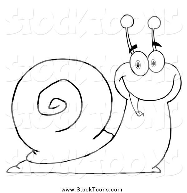 Stock Cartoon of a Lineart Cheerful Snail