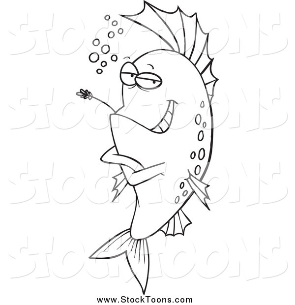 Stock Cartoon of a Lineart Cool Fish Chewing on Straw