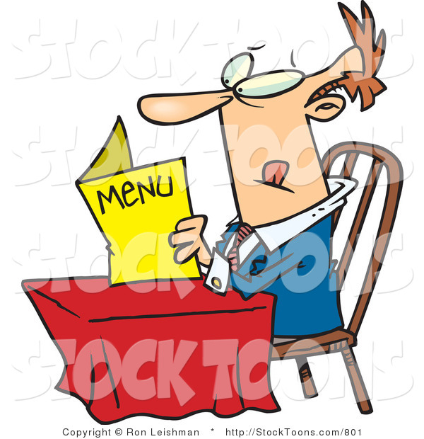 Stock Cartoon of a Lone Man Eying a Restaurant Menu