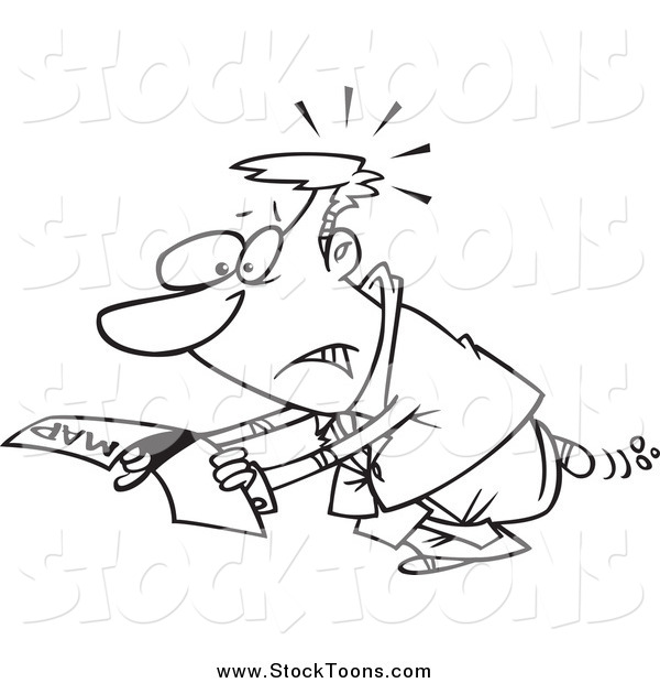 Stock Cartoon of a Lost Lineart Businessman Reading a Map