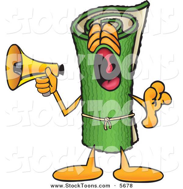 Stock Cartoon of a Loud and Annoying Green Carpet Mascot Cartoon Character Screaming into a Megaphone