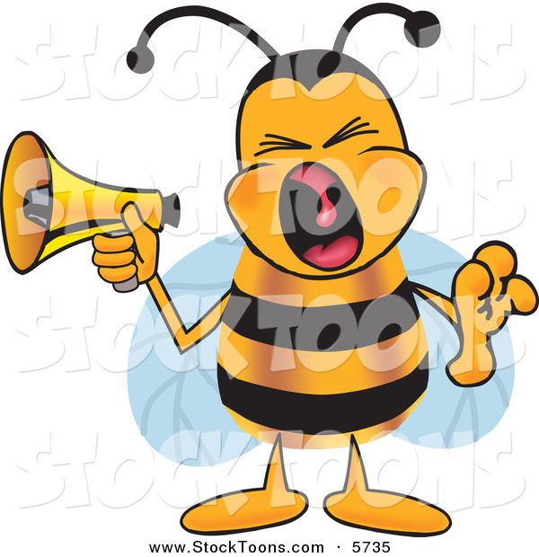Stock Cartoon of a Loud Bumblebee Mascot Cartoon Character Screaming into a Megaphone