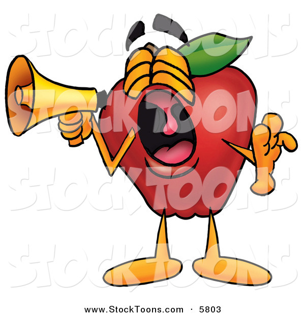 Stock Cartoon of a Loud Cartoon Red Apple Character Mascot Screaming into a Megaphone
