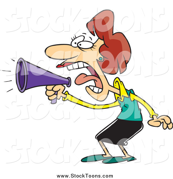 Stock Cartoon of a Loud White Businesswoman Using a Megaphone