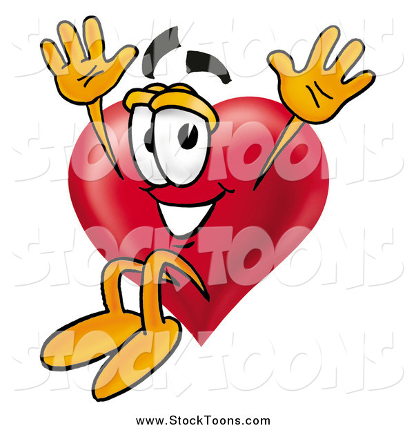 Stock Cartoon of a Love Heart Mascot Jumping