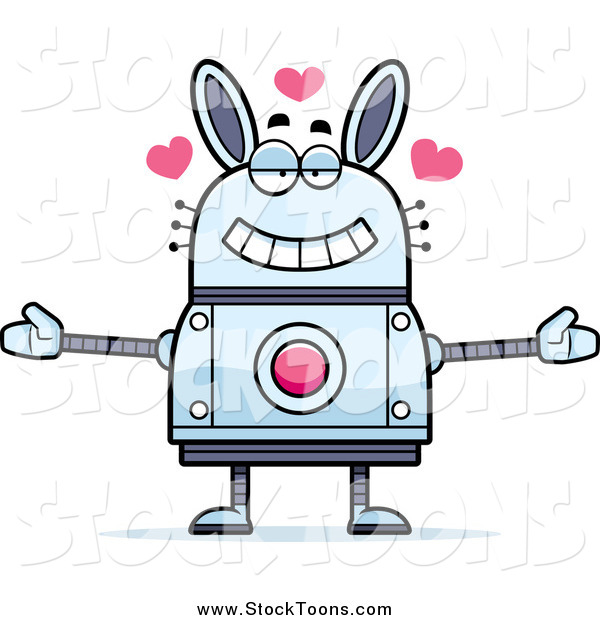 Stock Cartoon of a Loving Robot Rabbit Wanting a Hug