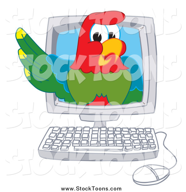 Stock Cartoon of a Macaw Parrot in a Computer
