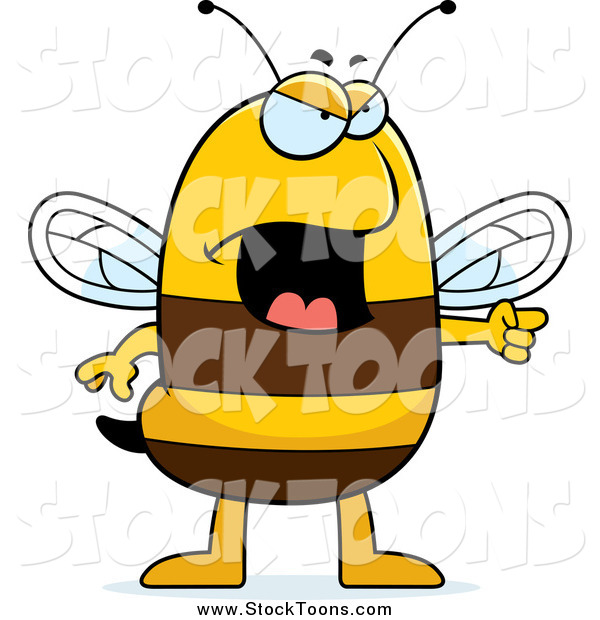 Stock Cartoon of a Mad Bee Pointing
