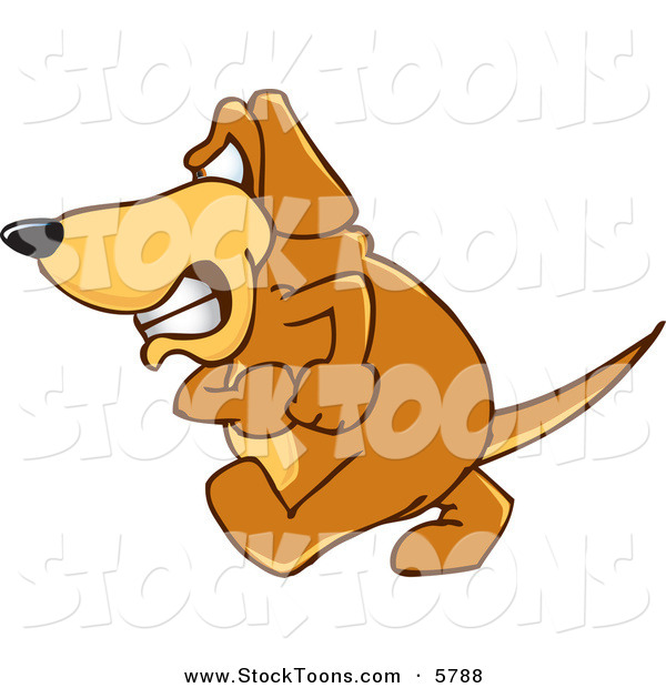 Stock Cartoon of a Mad Pet Brown Dog Mascot Cartoon Character with an Angry Grumpy Expression