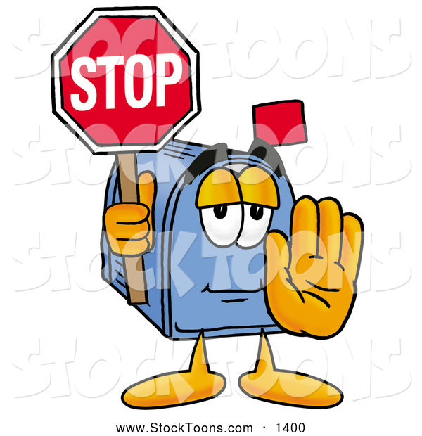 Stock Cartoon of a Mailbox Character Holding a Stop Sign