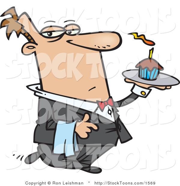 Stock Cartoon of a Male Butler Carrying a Cupcake