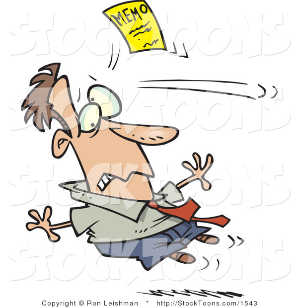 Stock Cartoon of a Man Being Attacked by a Yellow Memo Paper