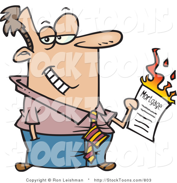 Stock Cartoon of a Man Burning His Mortgage Papers