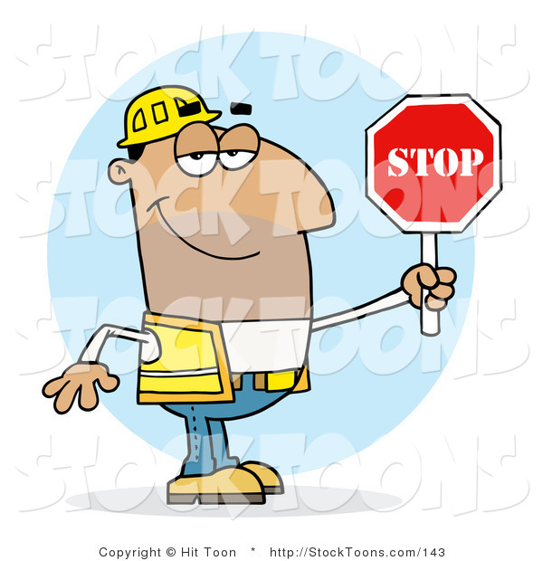 Stock Cartoon of a Man Holding a Stop Sign