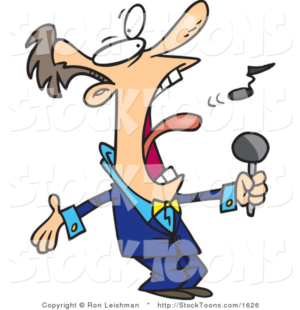 Stock Cartoon of a Man in a Blue Suit Singing
