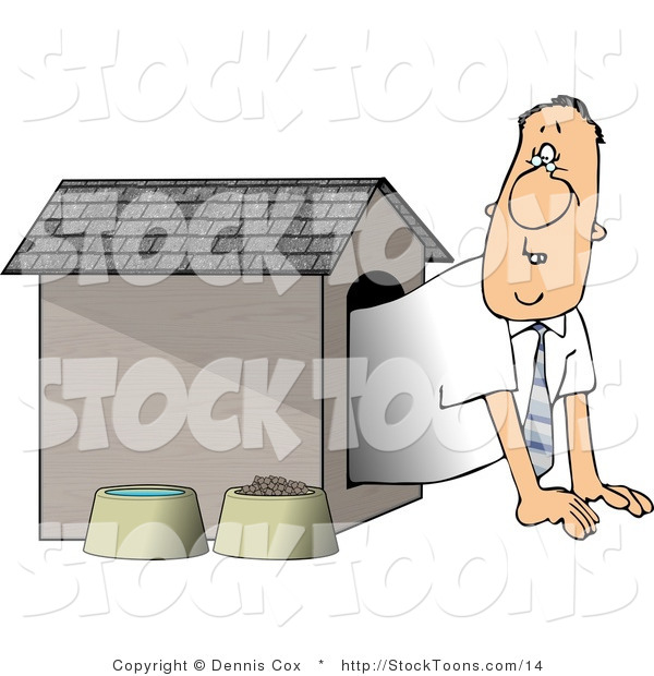 Stock Cartoon of a Man in the Doghouse