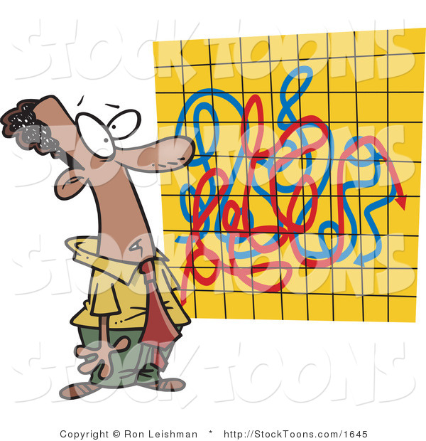 Stock Cartoon of a Man Looking at a Crazy Graph Chart