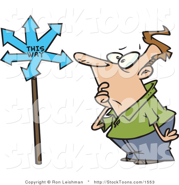 Stock Cartoon of a Man Looking at a Sign