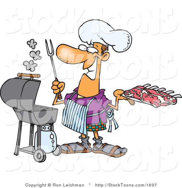 Stock Cartoon of a Man Preparing to Barbeque Ribs