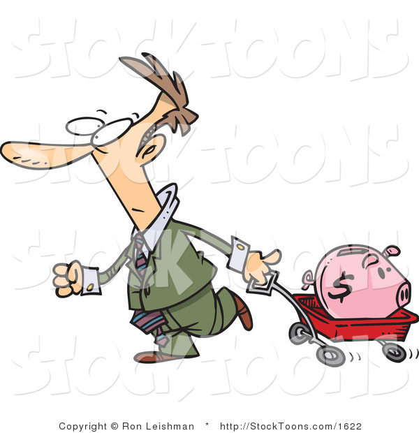 Stock Cartoon of a Man Pulling a Piggy Bank in a Wagon