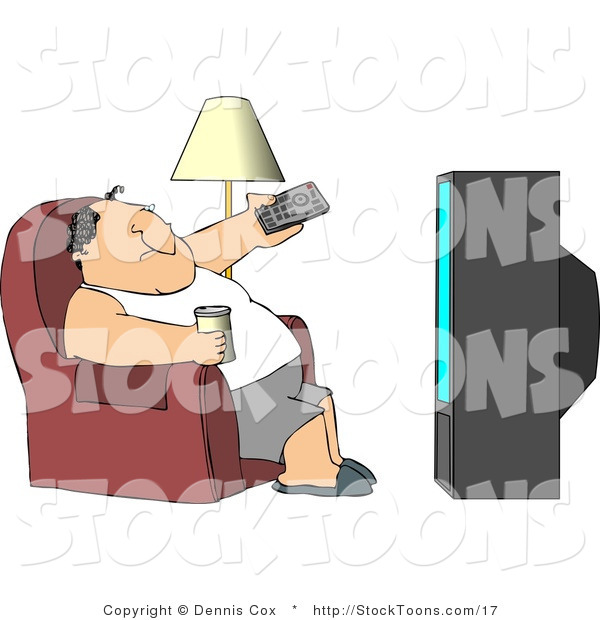 Stock Cartoon of a Man Sitting on a Couch, Watching TV Drinking Beer
