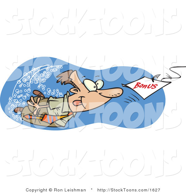 Stock Cartoon of a Man Swimming After a Hooked Bonus