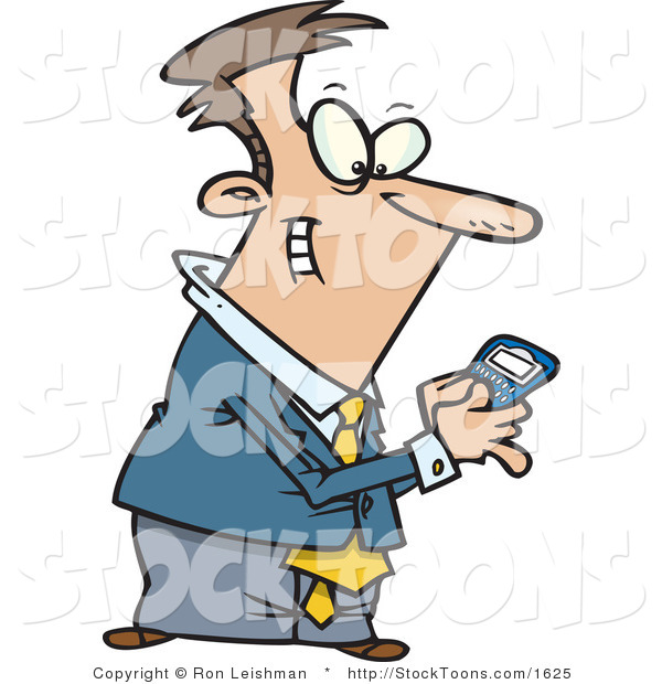 Stock Cartoon of a Man Using a BlackBerry Wireless Handheld Device