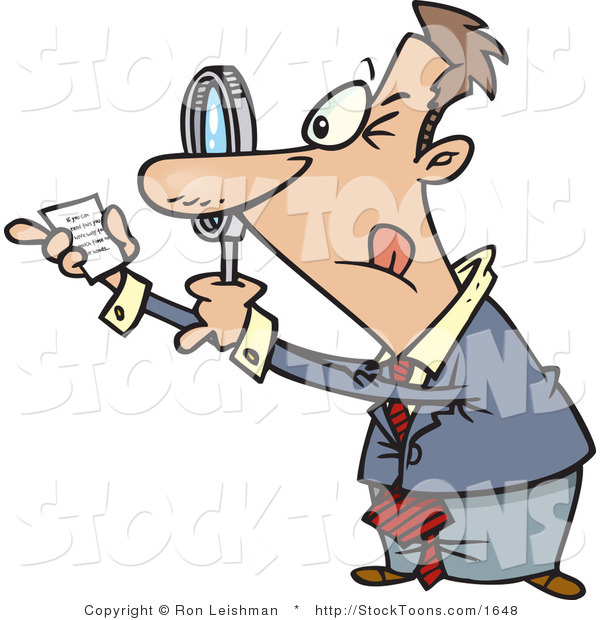 Stock Cartoon of a Man Using a Magnifying Glass