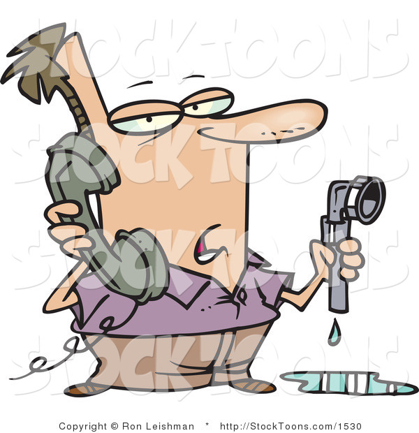 Stock Cartoon of a Man with a Leaky Pipe, Calling a Plumber