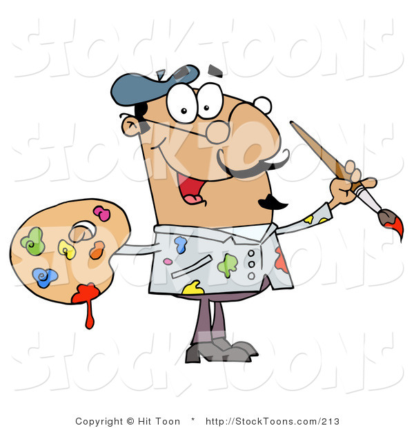 Stock Cartoon of a Messy Hispanic Artist Painter