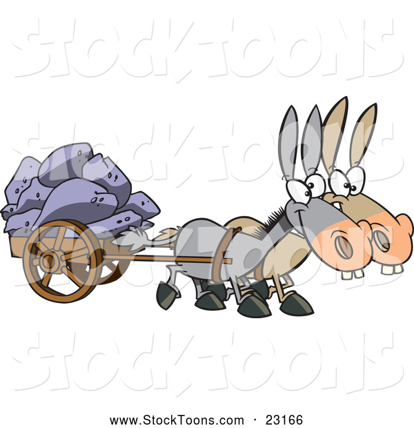 Stock Cartoon of a Mules Pulling a Wagon Full of Boulders