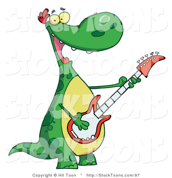Stock Cartoon of a Musical Green Dinosaur