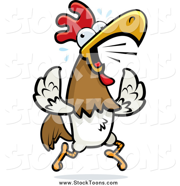 Stock Cartoon of a Noisy Rooster Running and Crowing