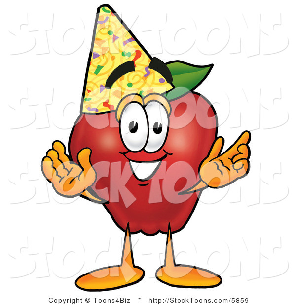 Stock Cartoon of a Nutritious Red Apple Character Mascot Wearing a Birthday Party Hat
