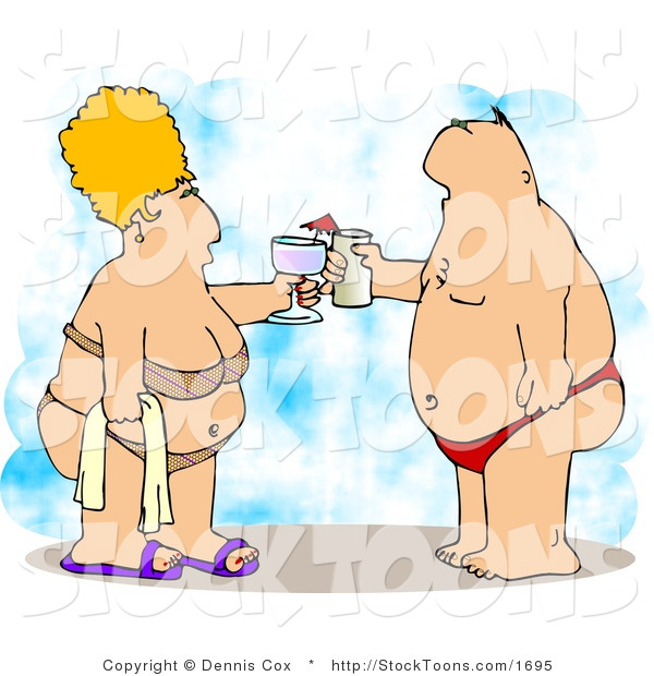 Stock Cartoon of a Obese Husband and Wife
