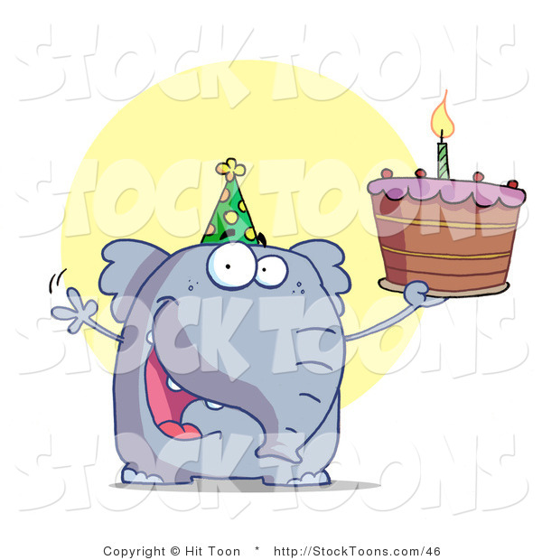 Stock Cartoon of a Party Animal, an Elephant, Wearing a Green Party Hat
