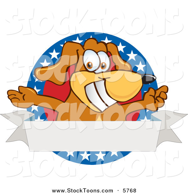 Stock Cartoon of a Patriotic Happy Brown Dog Mascot Cartoon Character with Open Arms with a Blank Label