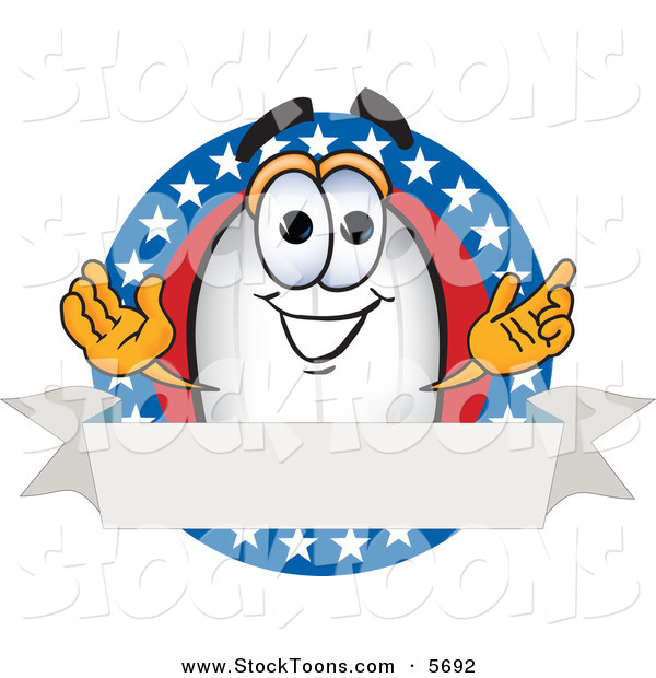 Stock Cartoon of a Patriotic White Blimp Mascot Cartoon Character Logo with Stars and a Blank Ribbon