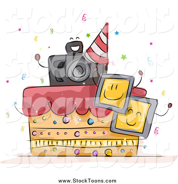 Stock Cartoon of a Photography Birthday Cake with Photos and a Camera