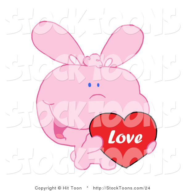 Stock Cartoon of a Pink Bunny Holding up a Heart