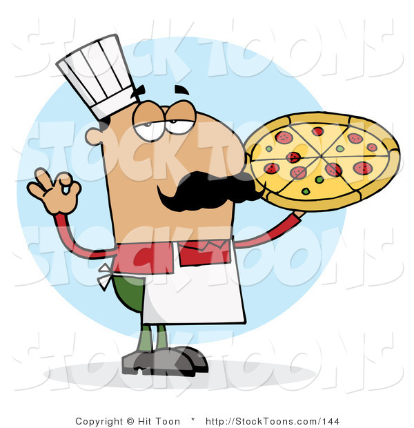 Stock Cartoon of a Pleased Hispanic Pizza Chef