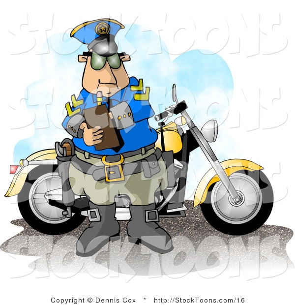 Stock Cartoon of a Policeman Filling out a a Ticket