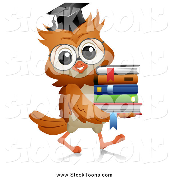 Stock Cartoon of a Professor Owl Carrying a Stack of Books
