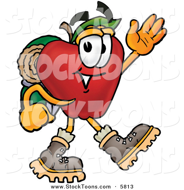 Stock Cartoon of a Red Apple Character Mascot Hiking and Carrying a Backpack and Walking Right