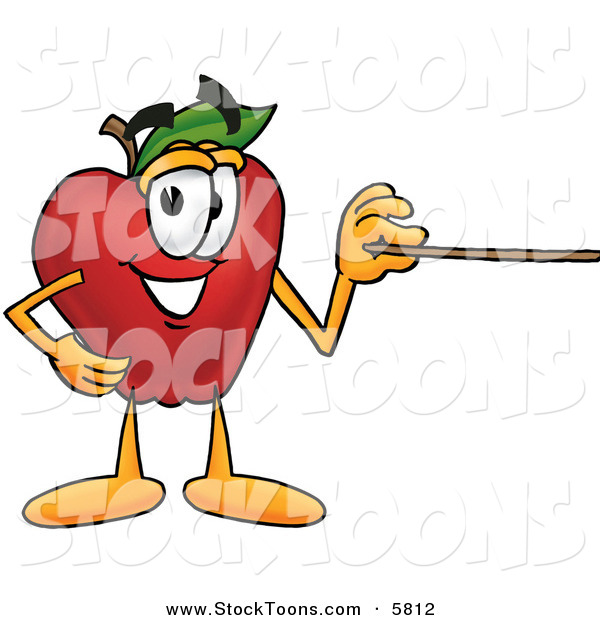 Stock Cartoon of a Red Apple Character Mascot Using a Pointer Stick and Smiling